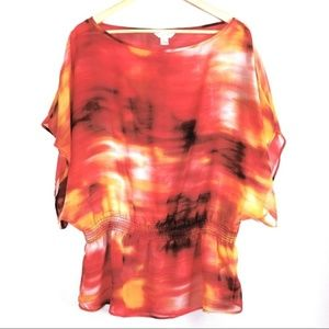 Kenar Woman's Sheer Dalmon Top Size Large